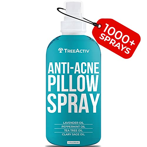 TreeActiv Anti-Acne Pillow Spray | Pimple Prevention & Freshener for Pillowcases, Blanket, Bed, Fabric, & Linen Sheets | Sleeping Mist with Lavender & Tea Tree Oils for a Deep Sleep | 1000+ Sprays