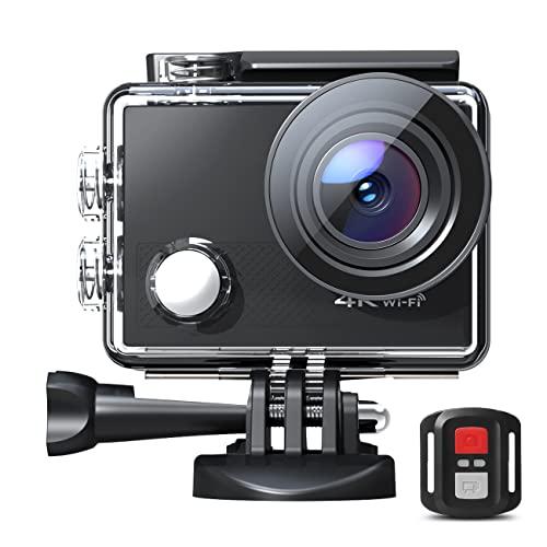 Action Cam 4K 30fps 20MP HD WiFi Fotocamera impermeabile Fotocamera subacquea 40M con telecomando 170° Obiettivo grandangolare Fisheye Ricaricabile Batterie 2X1050mAh Kit di accessori di montaggio