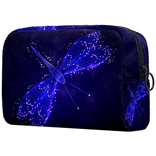Bolsa de cosméticos Suave para Mujer, libélula Azul, Adorable y espaciosa, Bolsas de Maquillaje, Neceser de Viaje, Organizador de Accesorios, 7.3x3x5.1in