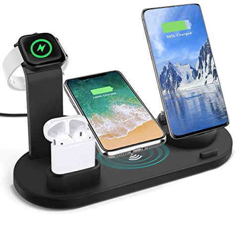 3 in 1 Charger Station Compatible with iPhone/Android/Type-C with USB Port for Apple Watch, Aqonsie Qi Fast Wireless Charging Dock Stand for AirPods/iPhone/Samsung/Huawei/HTC/LG (Black)
