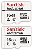SanDisk Industrial 16GB Micro SD Memory Card Class 10 UHS-I MicroSDHC (Bulk 2 Pack) in Cases (SDSDQAF3-016G-I) Bundle with (1) Everything But Stromboli Card Reader