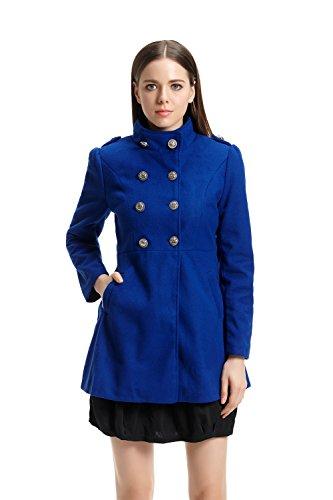 Hee Grand Damen Winter Herbst Freizeit fit Mantel slim Trenchcoat Blau chinesisch XL