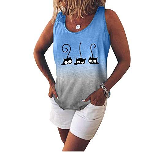 Sommer Damen Kurzarm Damen Gedruckt T-Shirt Weste Gr. XXX-Large, blau