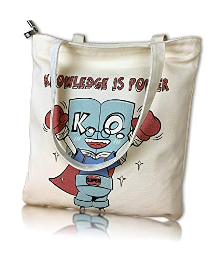 Canvas Tote Bag Zipper with Pockets Gift for Book Lover Women Kids School Work Travel Shopping Cotton Christmas Gift (School)