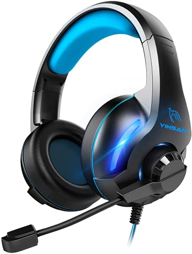 Gaming Headset, Xbox One Headset, Yinsan PS4 Headset Surround Stereo Gaming Headphones with Mic & LED Light, Compatible with PC PS4 Xbox One Switch (USB Extension Cable Contained), Blue