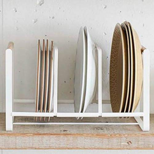 Threeofus Japanese Style Metal Dish Plate Storage Rack Plate Drying Drainer Stand Cabinet Organizer Stand for Kitchen Cabinet Counter and Cupboard