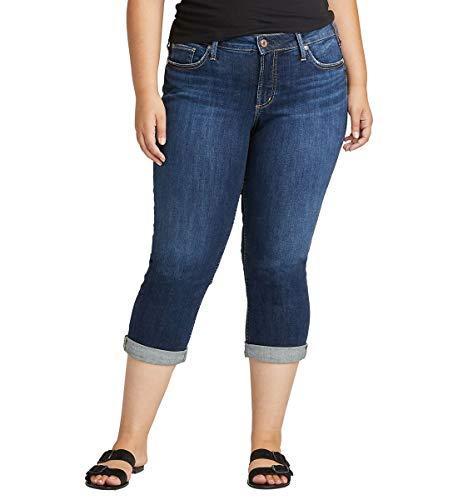 Silver Jeans Co. Women's Plus Size Suki Capri Jeans, Clean Dark Indigo, 16W