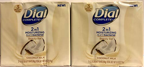 Dial Complete Beauty Bar Soap - 2 in 1 Moisturizing & Antibacterial - Coconut Milk - 3 Count 3.2 OZ Beauty Bars Per Package - Pack of 2 Packages