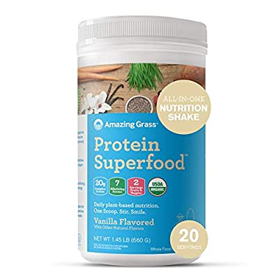 Amazing Grass Protein Superfood: Vegan Protein Powder, All-in-One Nutrition Shake, Pure Vanilla, 20 Servings