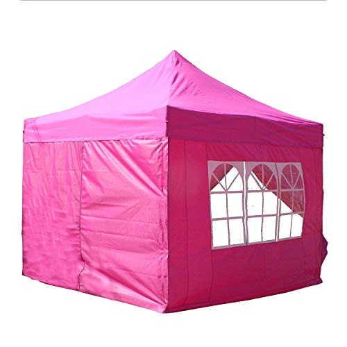 DELTA Canopies 10'x10' Ez Pop up Canopy Party Tent Instant Gazebo 100% Waterproof Top with 4 Removable Sides Pink - E Model
