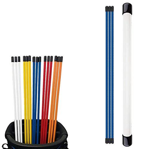 FINGER TEN Golf Ausrichtungsschwung-Trainer, Stöcke 121,9 cm, Vorteilspack, Golfanzeiger, Ausrichtungen, Zielübungsstab für Stärke und Tempo, Farbe: Gelb, Rot, Blau, Weiß, Orange (Blau, 3 Stück)