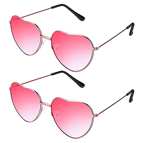 2 paia di occhiali da sole a forma di cuore hippie per costume da hippy, leggeri e retrò, adatti per donne e ragazze e feste di tutti i giorni (una rosa, una blu e rosa, montatura oro rosa)