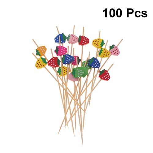 STOBOK 100 stücke Erdbeer Cocktail Picks Bambus Obst Zahnstocher Einweg Sandwich Vorspeise Cocktail Sticks Party Supplies (mischfarbe)