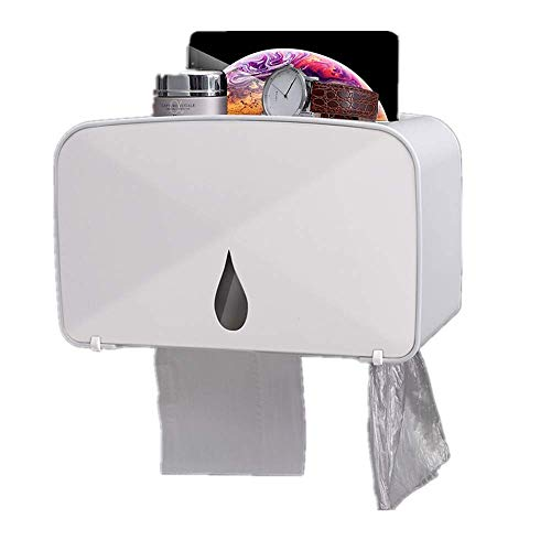 DAILYINT Waterproof/dustproof Paper Roll Holder and Dispenser Thick Multi-functional Toilet Paper Holder with Trash Bag Storage No Punch Wall for Bathroom Storage and Organization