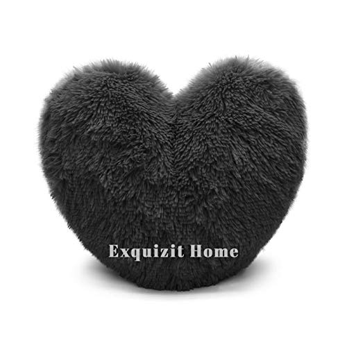 Teddy Bear Cuddly Fleece Super Soft Heart Shape Fluffy Filled Cushion Warm & Cosy Home Decoration Gift For Loved One Valentine Day Heart Cushion Black 38cm x 38cm Approximate