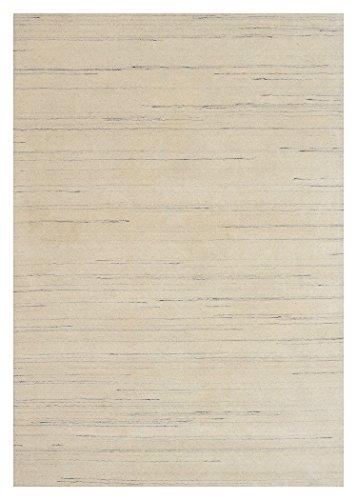 Morgenland Gabbeh Loribaft Teppich Naturweiß Einfarbig Uni Schurwolle Handgewebt 300 x 80 cm Läufer