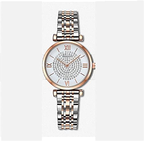 BBZZ Reloj de Cuarzo para Mujer con Superficie de Diamante de Cristal, a Prueba de Agua de 30 m, Aspecto Exquisito, Novia,Blanco