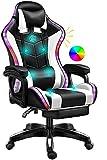 Silla con Silla LED Light/Pro Gaming con Altavoces Bluetooth/Silla de Oficina ejecutiva con Masaje Lumbar,Blanco