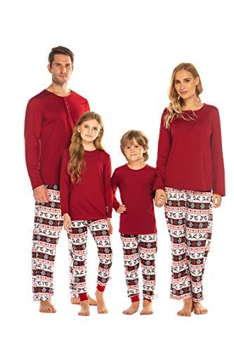 Balancora Pyjama Langarm Baumwolle Weihnachten Familie Fun-Nachtwäsche Outfit Langarm Weihnachts Schlafanzug Für Damen Herren Kinder Mädchen Jungen Baby 2Pcs Set