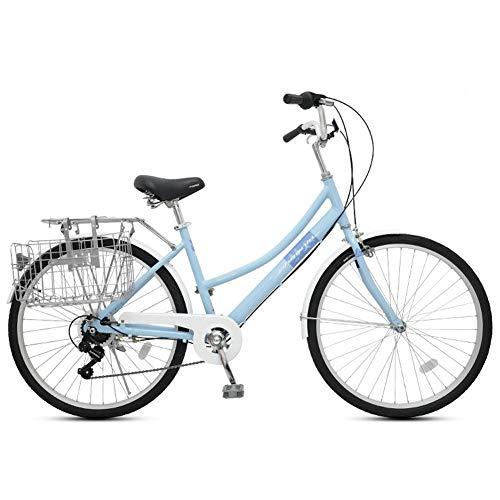 TTFGG Comfort Bike Bici da Citt con Il Cestino, per Gli Uomini E Biciclette di Donne, 26Inch di 7 velocità Beach Cruiser Biciclette,02
