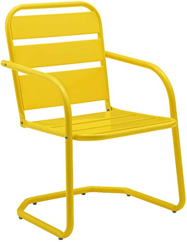 Crosley Furniture CO1030-YE Brighton Retro Metal Chair, Set of 2, Yellow