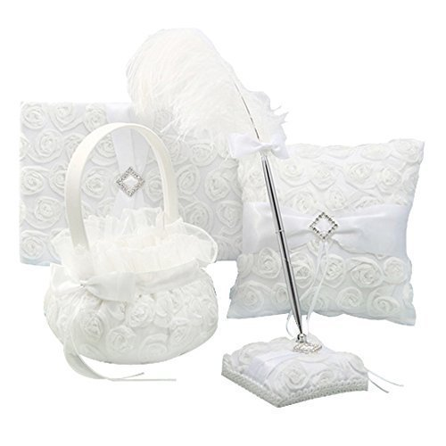 4Pcs Romantic Wedding Decoration Set, Party Favor Props, Vintage Retro Lace Flower Feather Wedding Ring Pillow+ Girls Flower Basket +Guest Book +Pen Set for Wedding Ceremony Decoration Supplies