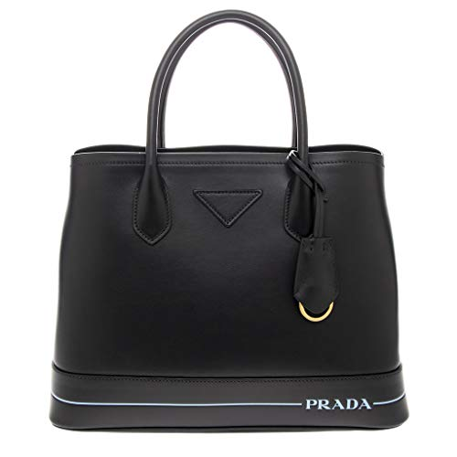 Prada DONNA BORSA BAULETTO A MANO CON TRACOLLA IN PELLE MADE IN ITALY ART 1BG775 ONE SIZE NERO BLACK