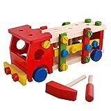 SunshineTec Spielauto aus Holz, Schraubauto, Konstruktionsspielzeug mit Werkzeug, 46 Teile, Holzblockspiel