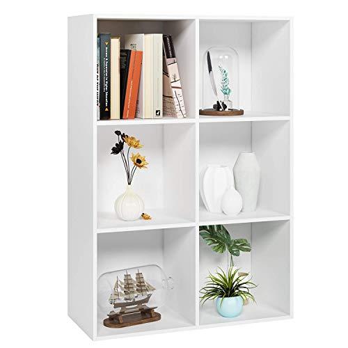 Homfa Estantería Librería Estantería para Libros Estantería de Pared Estantería Almacenaje con 6 Compartimentos Blanco 65.5x29.5x97cm