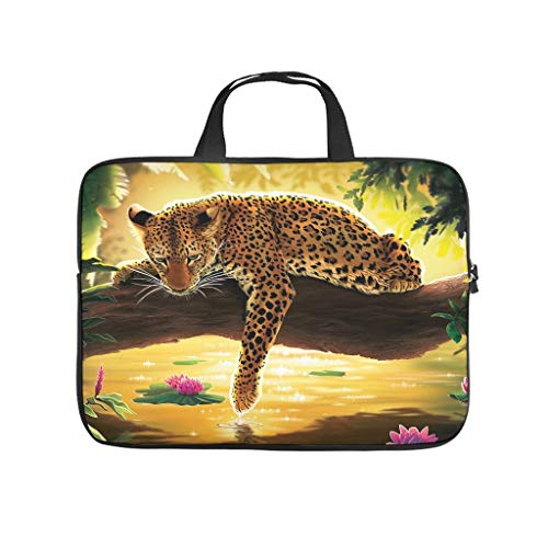 Funda para portátil de triste diseño de leopardo, resistente al agua, divertida funda para portátil para universidad, trabajo y negocios