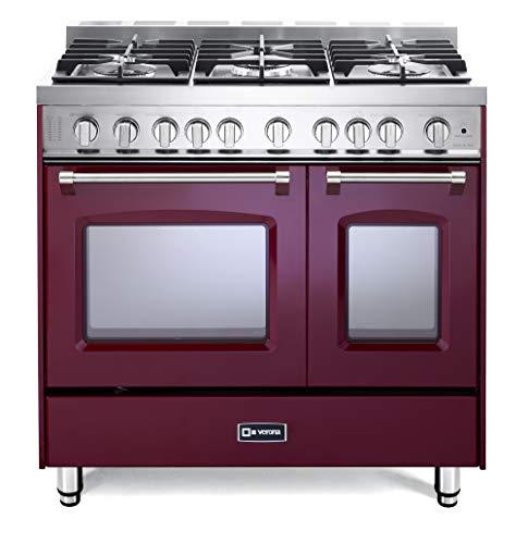 Verona Prestige Series VPFSGG365DBU 36 inch. All Gas Range 5 Sealed Burners Double Oven Convection Storage Drawer Burgundy