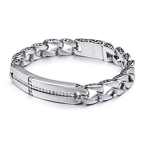 Men's Bracelet Stainless Steel Bracelet Europe and America Titanium Steel Cross Diamond Bracelet Men Titanium Steel Men's Bracelet (Color : Silver, Size : 22x1.2cm)