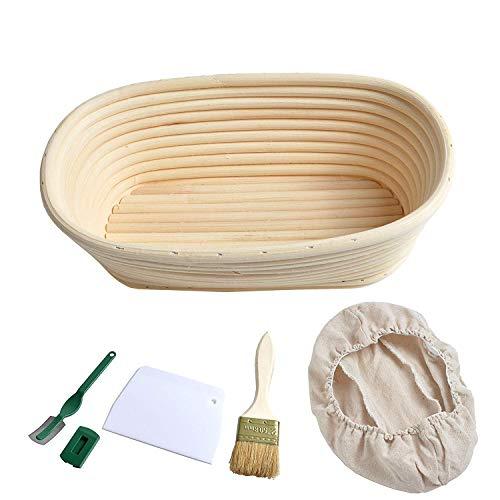 Cesta de Prueba de Pan Ovalada de Forro de Lino Que Prueba la Masa Madre + Cortador de Pan + Cojo + Cepillo para Panaderos Profesionales y Caseros para Panaderos, Cestas de Pan