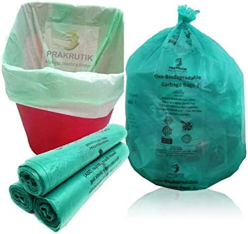 PRAKRUTIK Garbage Bags Biodegradable For Kitchen,Office,Medium Size (48cmX56cm/(19 Inchx22 Inch),90 Bags).(Green)