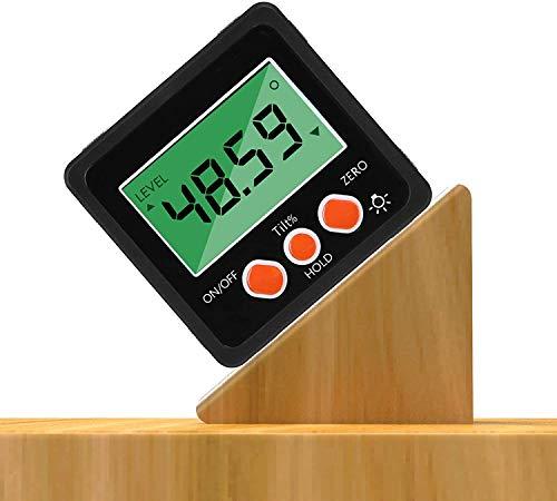 iFCOW Inclinómetro digital resistente al agua, preciso 4 x 90 ° nivel caja ángulo buscador medidor biselado con base magnética y luz de fondo