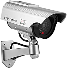 YSUCAU Solar Powered Bullet Dummy Fake Camera Surveillance Security CCTV Dome Camera with Flashing Red LED Light & Warning Security Alert Sticker Decals Outdoor/Indoor Use (1 Pack)