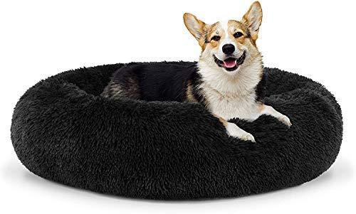 WSJYP Hundebett Sound Sleep Donut Hundebett, Kleines Schokoladenbraunes Plüsch Abnehmbare Abdeckung Premium Beruhigendes Nestbett,Medium Bed (76cm Diameter)-
