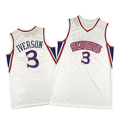 Jersey de Baloncesto de Iverson # 3, la Respuesta 96-97 Retro clásico de Jersey Rojo y Blanco, Camisa de Camisa sin Mangas, Ropa de Verano Transpirable White-XXL