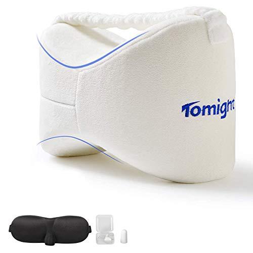 tomight Beinkissen für Seitenschläfer,Leg Pillow Memory Foam mit Gummiband, Knie-Kissen für Seitenschläfer und Rückenschläfer Ergonomisches Knie und Beinruhekissen Weiß