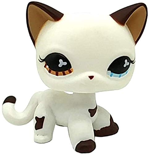 Greneric Littlest Pet Shop, LPS Toy Mini Pet Toys Brown/Blue Eyes White Cat Hand Painted Figures Collection Boys Girls Kids Gift Set