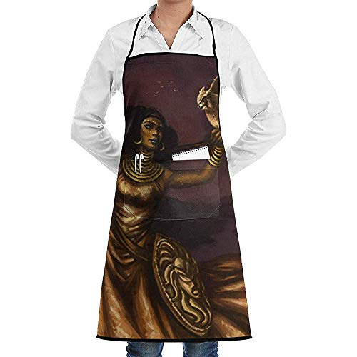 jingqi Sleeveless Chef Apron,Restaurant Coffee Shop Uniforms,Men/Women Pockets Apron,Perfect Life Hall Greek Afro Goddess Athena Custom BBQ Aprons,Kitchen Cooking Apron,Pinafore