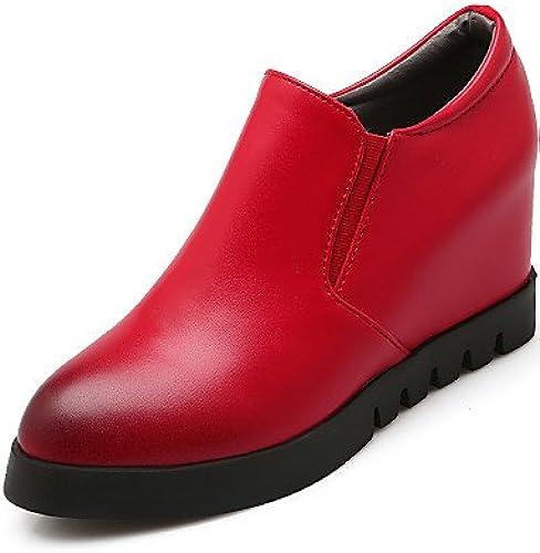 NJX  hug Chaussures Femme-Habillé-Noir   Rouge-Talon Compensé-Talons   A Plateau-Talons-Similicuir