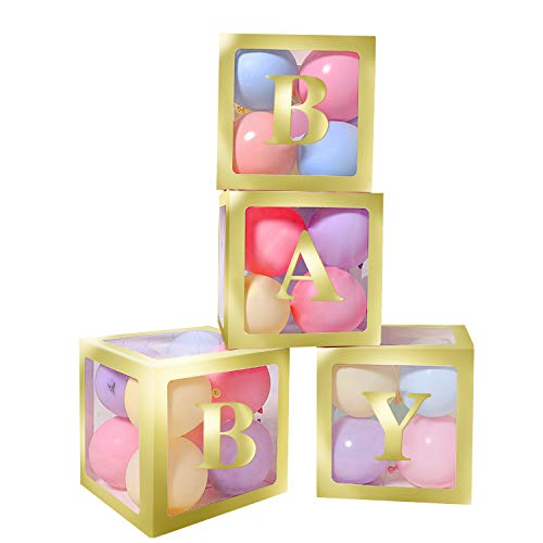 Great Features Of Termichy Baby Shower Boxes Party Decorations, 4 PCS Baby Shower Blocks Transparent...