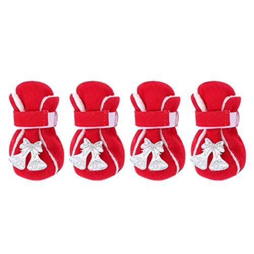 Toyvian 4Pcs Christmas Puppy Stivali con Campana Pet Christmas Scarpe Calda Pet Paw Protector Shoes Calze Skidproof Anti- Slip per PET