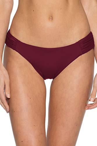 Becca by Rebecca Virtue Women's Tab Side Hipster Bikini Bottom Cabernet XL