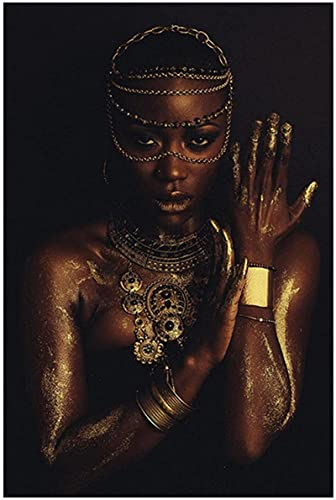 YL–wallart Pintura Moderna Mujeres africanas de Oro Negro con Collar Póster Arte de la Pared Impresiones en Lienzo Pintura Imagen artística Decoración para el hogar 70x90cm sin Marco