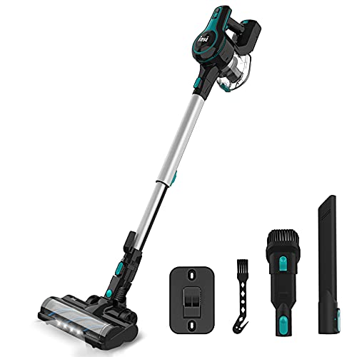 Cordless Vacuum Cleaner, 23Kpa Strong Suction Stick Vacuum with 45min Max Long Runtime Detachable Battery, Extra Large Dustbin, Powerful Brushless Motor, Ultra Quiet Lightweight - INSE S600 Blue