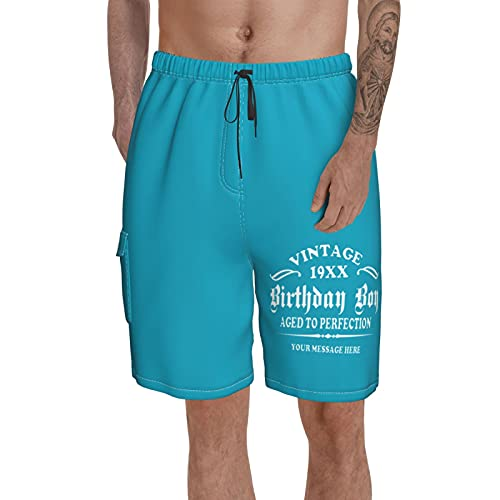 mengmeng Vintage 19XX cumpleaños niño de edad a la perfección de los hombres de natación troncos de la tabla pantalones cortos de playa pantalones de natación surf pantalones cortos