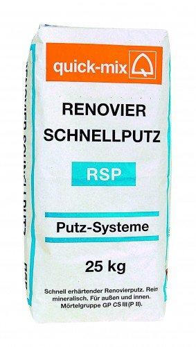 quick-mix RSP Renovier-Schnellputz 25 kg - Schnell härtender Renovierputz - Faserverstärkt - Außen & Innen