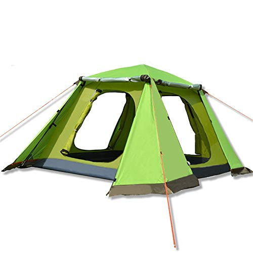 Zelten Family Camp Zelt Freien Außen Double Layer 3-4 Person Automatische Zelt Regenfest Camping Camping-Zelt Pflegeleicht Leicht Camping installierte (Color : Green, Size : One Size)